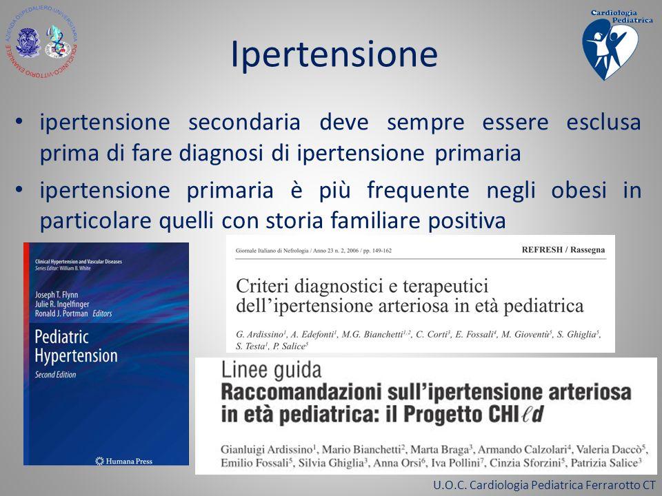 U.O.C. Cardiologia Pediatrica Ferrarotto CT ipertensione secondaria deve sempre essere esclusa prima di fare diagnosi di ipertensione primaria iperten