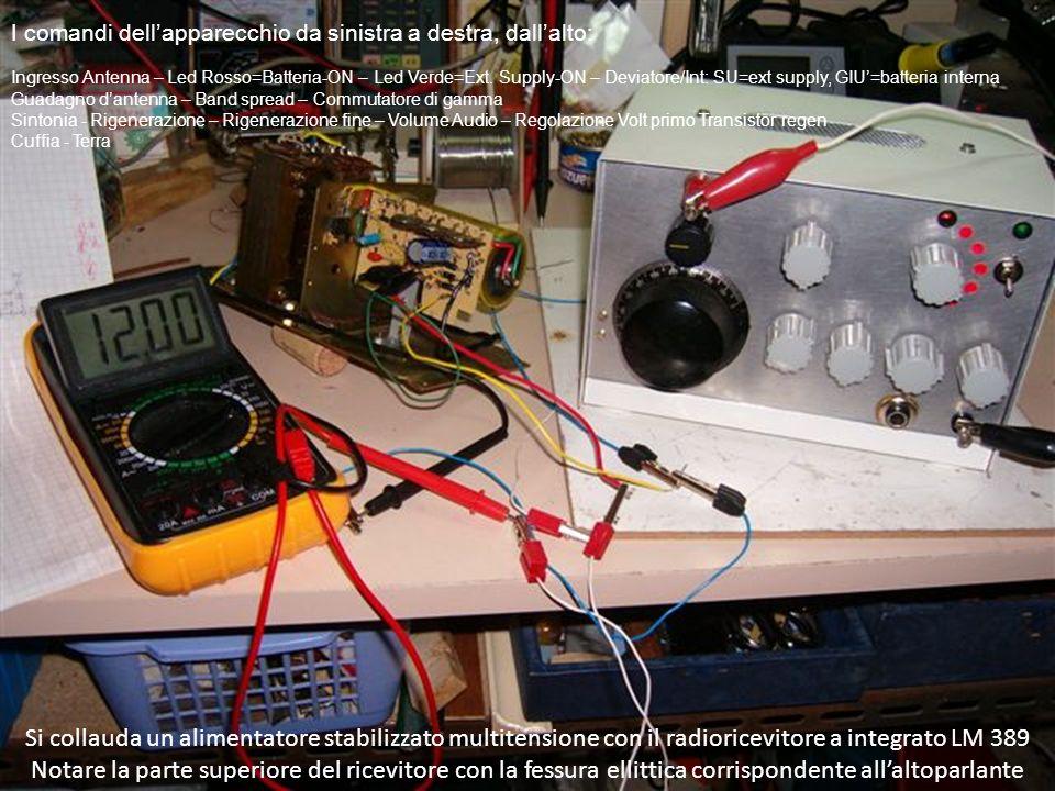 Si collauda un alimentatore stabilizzato multitensione con il radioricevitore a integrato LM 389 Notare la parte superiore del ricevitore con la fessura ellittica corrispondente allaltoparlante I comandi dellapparecchio da sinistra a destra, dallalto: Ingresso Antenna – Led Rosso=Batteria-ON – Led Verde=Ext.