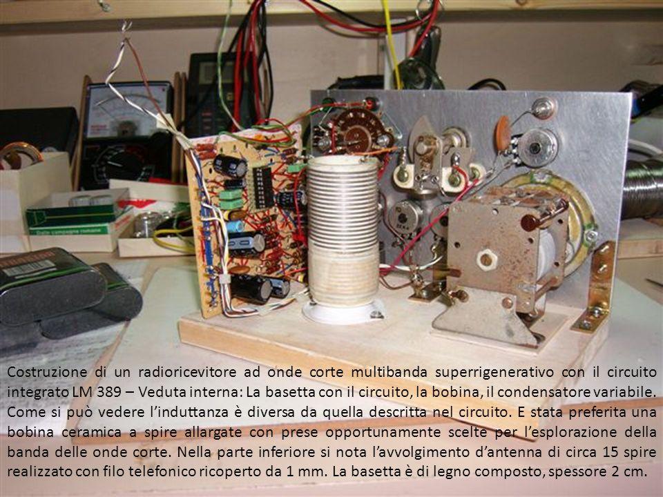 Costruzione di un radioricevitore ad onde corte multibanda superrigenerativo con il circuito integrato LM 389 – il supporto in legno dei componenti e il pannello frontale in al da 1 mm