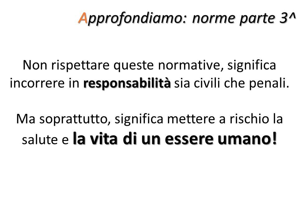 Approfondiamo: norme parte 3^ responsabilità Non rispettare queste normative, significa incorrere in responsabilità sia civili che penali. la vita di