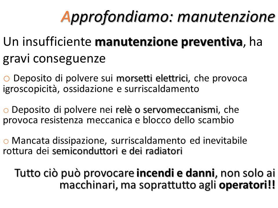Approfondiamo: manutenzione manutenzione preventiva Un insufficiente manutenzione preventiva, ha gravi conseguenze morsetti elettrici o Deposito di po