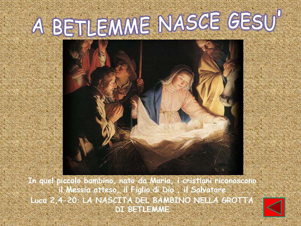 In quel piccolo bambino, nato da Maria, i cristiani riconoscono il Messia atteso, il Figlio di Dio, il Salvatore Luca 2,4-20: LA NASCITA DEL BAMBINO NELLA GROTTA DI BETLEMME