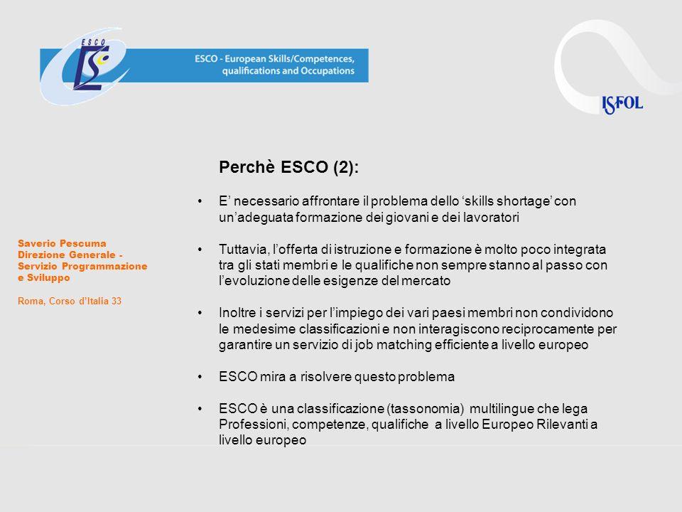 Cosa può fare ESCO (1): Favorire il dialogo tra mercato del lavoro, educazione e formazione Permettere lo scambio di informazioni tra i servizi per limpiego a livello europeo Potenziare i servizi di job matching on-line Facilitare la mobilità trans-settoriale e trans-nazionale tramite linteroperabilità semantica Aiutare i servizi per limpiego ad offrire servizi basati su un approccio per competenze Aiutare ad una descrizione delle qualifiche e delle occupazioni sulla base delle competenze (learning outcomes) Saverio Pescuma Direzione Generale - Servizio Programmazione e Sviluppo Roma, Corso dItalia 33