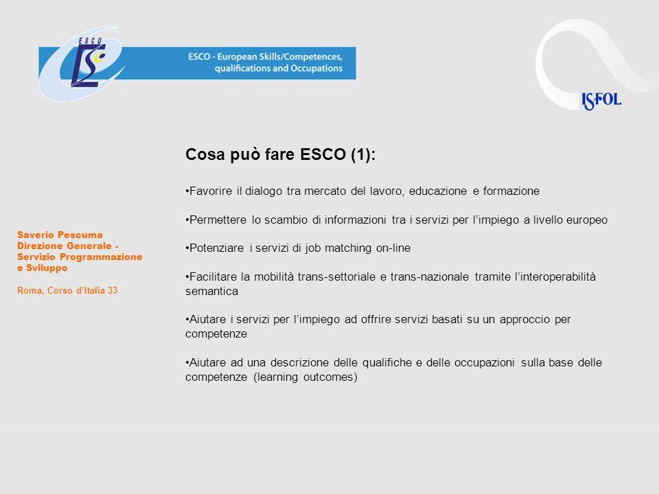 Saverio Pescuma Direzione Generale - Servizio Programmazione e Sviluppo Roma, Corso dItalia 33 Cosa può fare ESCO (2): Aiutare I sistemi educativi e formativi ad una descrizione dei percorsi di apprendimento basati sulle competenze (learning outcomes) Statistiche e Ricerche ESCO inoltre supporta altre iniziative della Commissione Europea che mirano a sviluppare il mercato del lavoro e della formazione rendendolo più trasparente, stimolando la mobilità e creando opportunità lavoro: EURES, Erasmus + EQF Europass-CV Ploteus ecc.