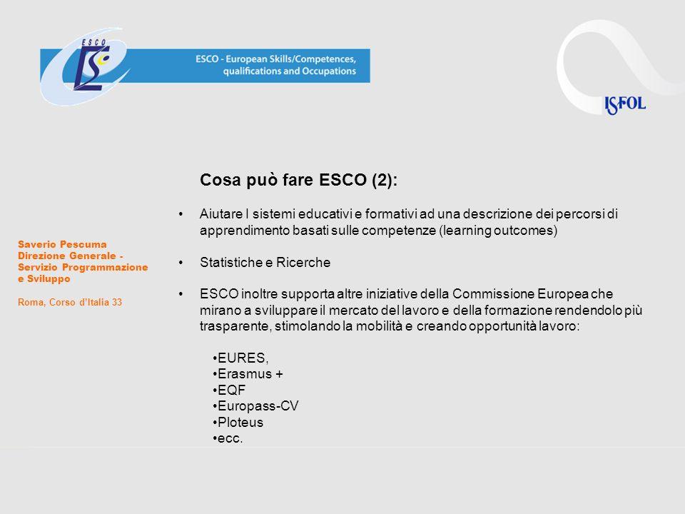 Cosa può fare ESCO (3): Le imprese potranno usare ESCO per definire il proprio fabbisogno di competenze interne Gli studenti, impiegati o meno, potranno usare ESCO per registrare i risultati dei loro percorsi di apprendimento (formale, informale o non formale che sia) e costruire I loro profilo professionale.