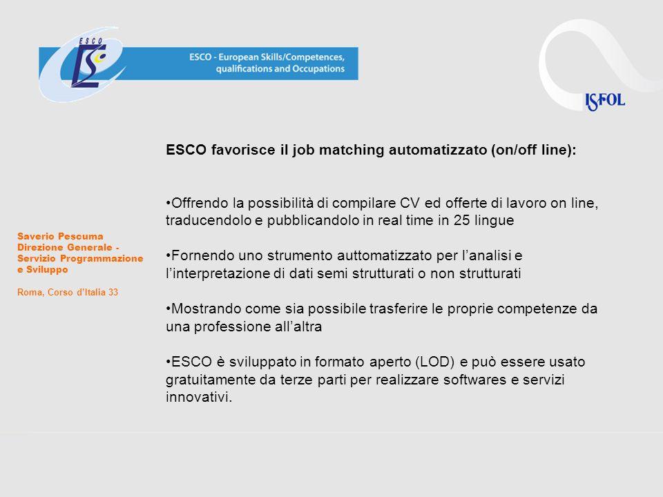 Saverio Pescuma Direzione Generale - Servizio Programmazione e Sviluppo Roma, Corso dItalia 33 ESCO favorisce il job matching automatizzato (on/off li
