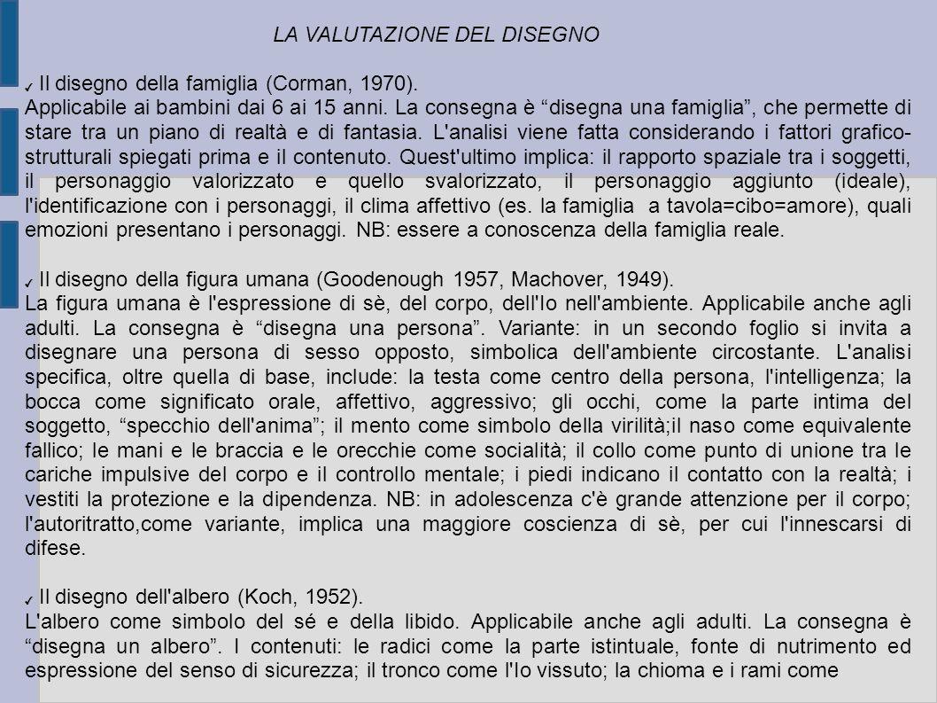 LA VALUTAZIONE DEL DISEGNO Il disegno della famiglia (Corman, 1970).