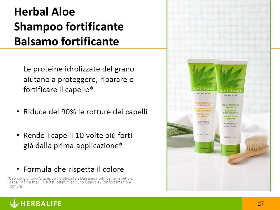 27 *Uso congiunto di Shampoo Fortificante e Balsamo Fortificante rispetto a capelli non trattati. Risultati ottenuti con uno Studio su Rafforzamento e