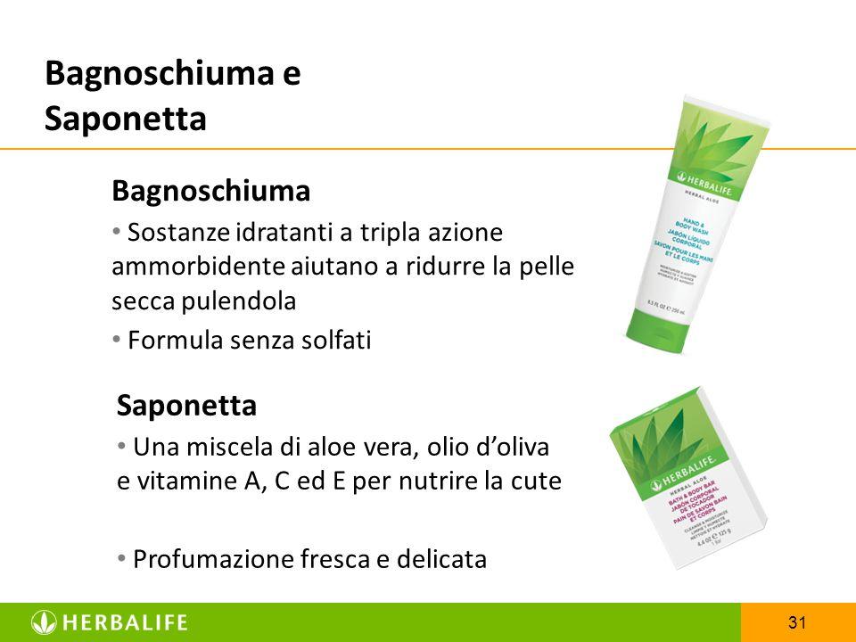 31 Bagnoschiuma e Saponetta Bagnoschiuma Sostanze idratanti a tripla azione ammorbidente aiutano a ridurre la pelle secca pulendola Formula senza solf