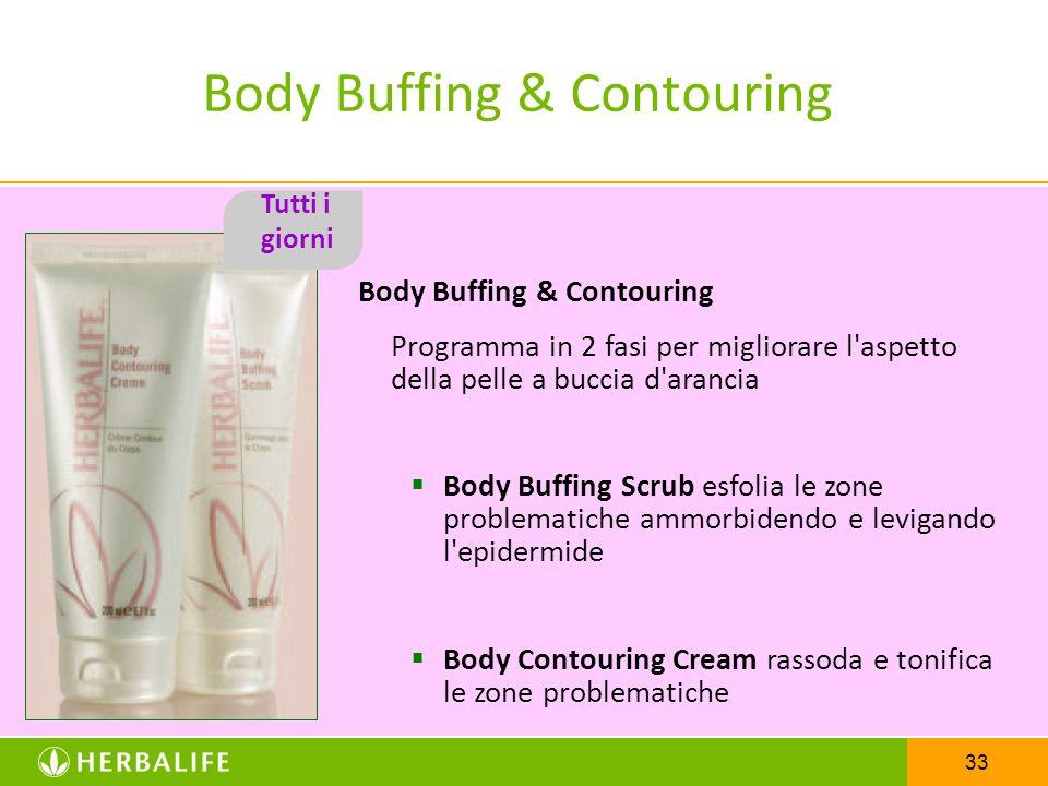 33 Body Buffing & Contouring Programma in 2 fasi per migliorare l'aspetto della pelle a buccia d'arancia Body Buffing Scrub esfolia le zone problemati