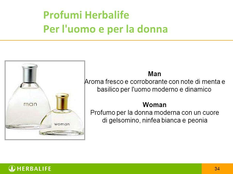 34 Profumi Herbalife Per l'uomo e per la donna Man Aroma fresco e corroborante con note di menta e basilico per l'uomo moderno e dinamico Woman Profum
