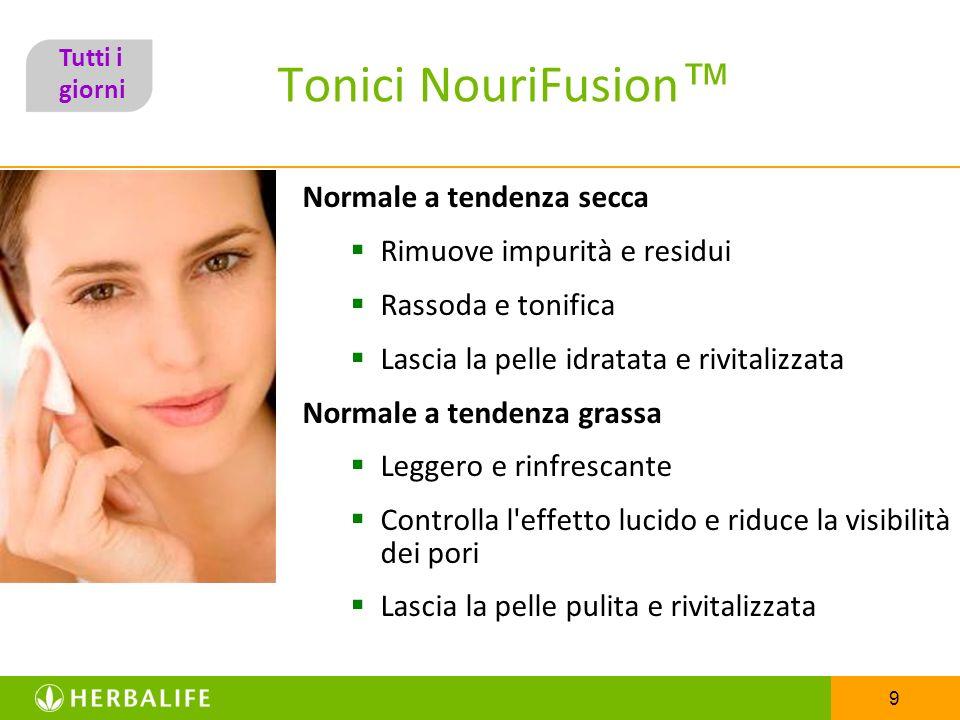 9 Tonici NouriFusion Normale a tendenza secca Rimuove impurità e residui Rassoda e tonifica Lascia la pelle idratata e rivitalizzata Normale a tendenz