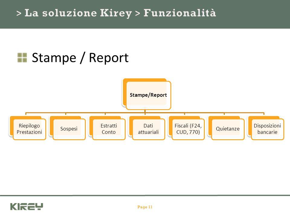 Stampe/Report Riepilogo Prestazioni Sospesi Estratti Conto Dati attuariali Fiscali (F24, CUD, 770) Quietanze Disposizioni bancarie Page 11 Stampe / Report