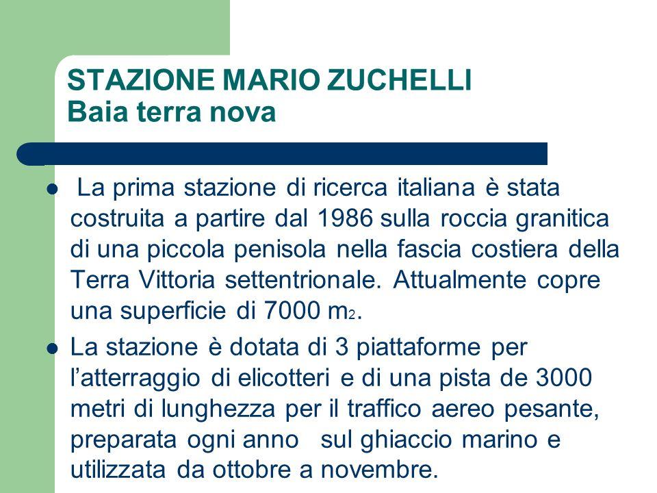 STAZIONE MARIO ZUCHELLI Baia terra nova La prima stazione di ricerca italiana è stata costruita a partire dal 1986 sulla roccia granitica di una picco