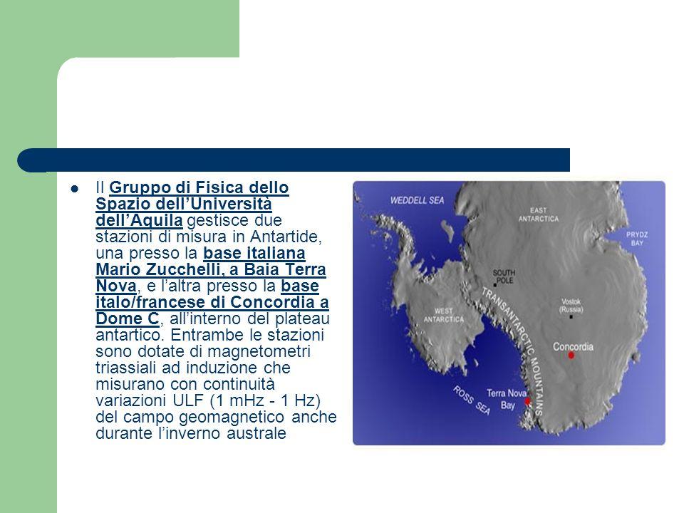 Il Gruppo di Fisica dello Spazio dellUniversità dellAquila gestisce due stazioni di misura in Antartide, una presso la base italiana Mario Zucchelli, a Baia Terra Nova, e laltra presso la base italo/francese di Concordia a Dome C, allinterno del plateau antartico.