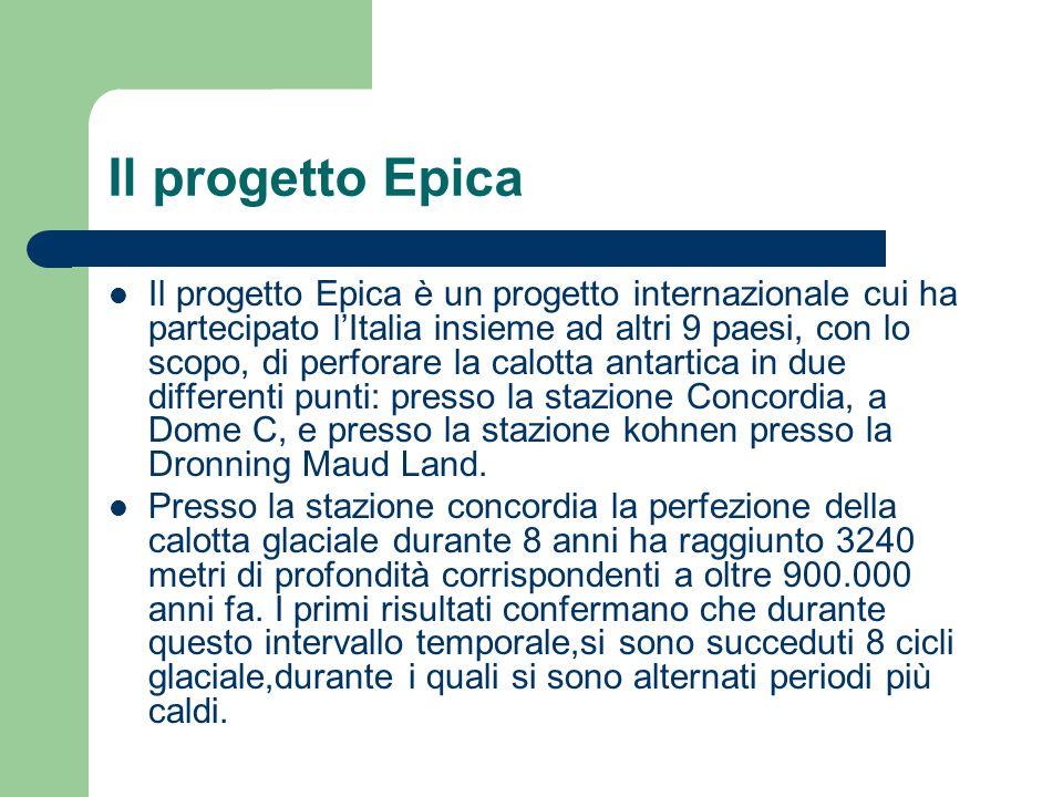 Il progetto Epica Il progetto Epica è un progetto internazionale cui ha partecipato lItalia insieme ad altri 9 paesi, con lo scopo, di perforare la ca