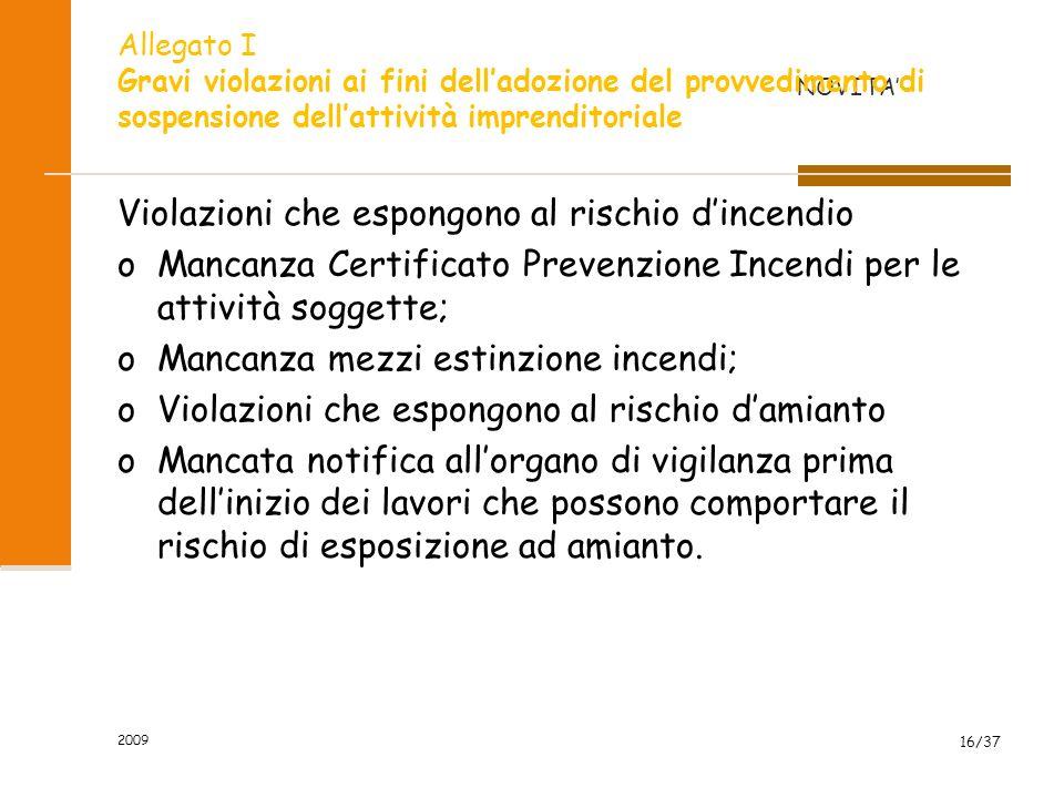 2009 16/37 Violazioni che espongono al rischio dincendio oMancanza Certificato Prevenzione Incendi per le attività soggette; oMancanza mezzi estinzion