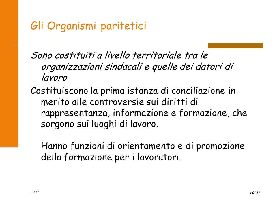 2009 32/37 Gli Organismi paritetici Sono costituiti a livello territoriale tra le organizzazioni sindacali e quelle dei datori di lavoro Costituiscono