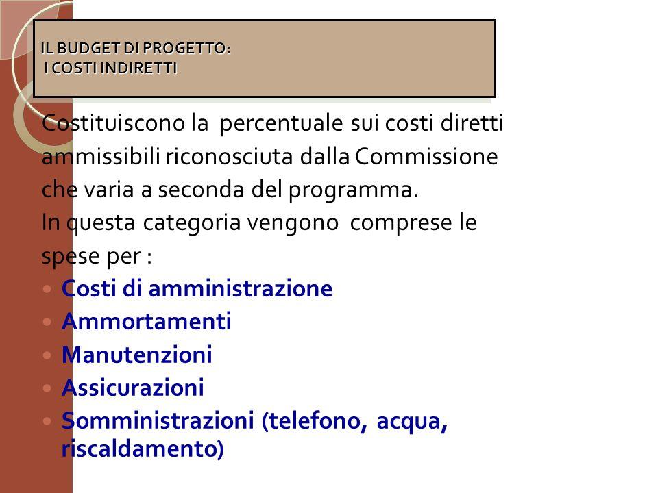 Costituiscono la percentuale sui costi diretti ammissibili riconosciuta dalla Commissione che varia a seconda del programma. In questa categoria vengo