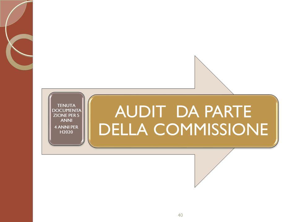 40 AUDIT DA PARTE DELLA COMMISSIONE TENUTA DOCUMENTA ZIONE PER 5 ANNI 4 ANNI PER H2020