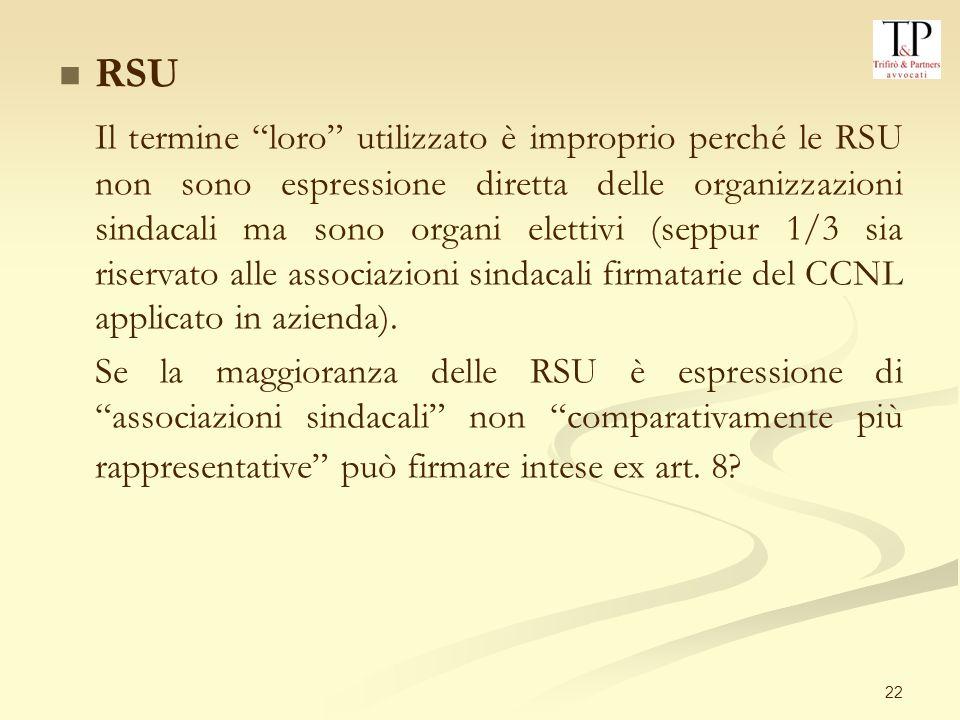 22 RSU Il termine loro utilizzato è improprio perché le RSU non sono espressione diretta delle organizzazioni sindacali ma sono organi elettivi (seppur 1/3 sia riservato alle associazioni sindacali firmatarie del CCNL applicato in azienda).