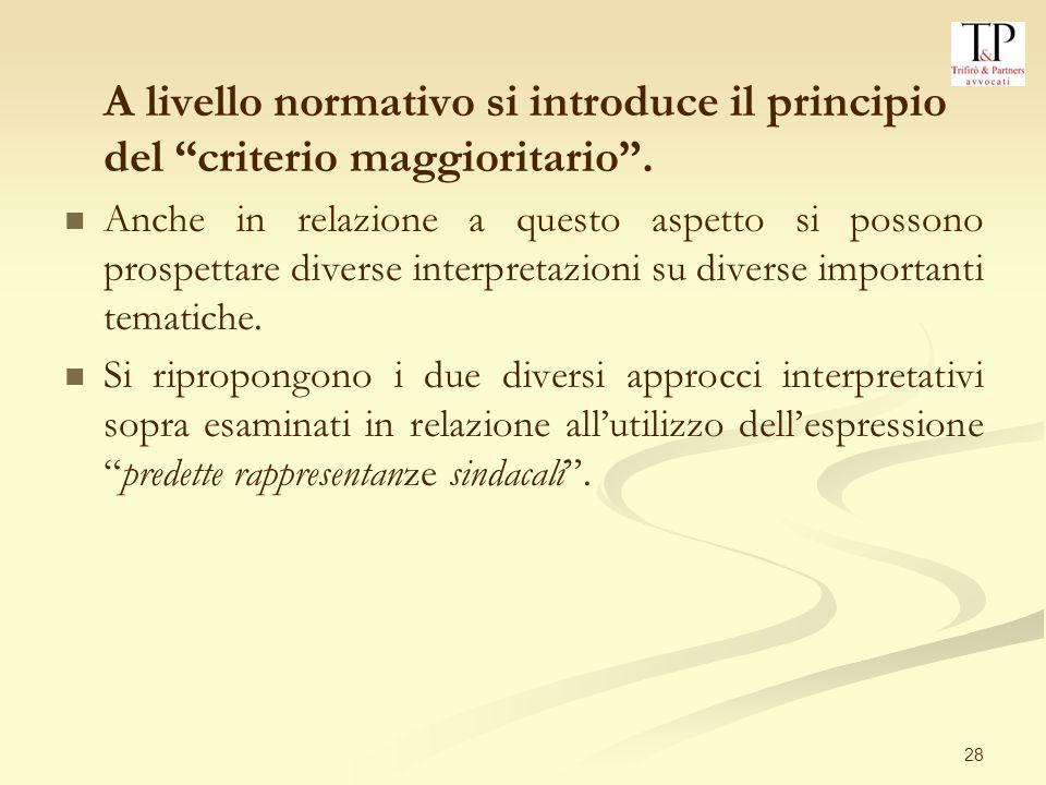28 A livello normativo si introduce il principio del criterio maggioritario.