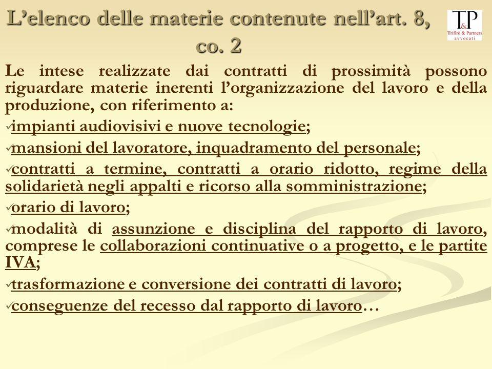 Lelenco delle materie contenute nellart.8, co.