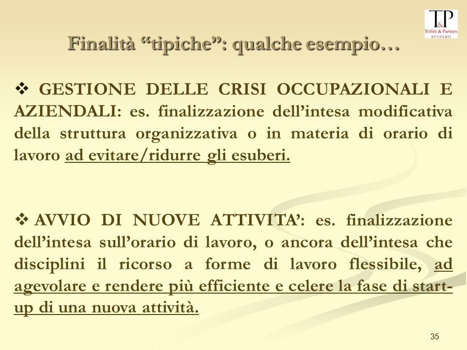 35 Finalità tipiche: qualche esempio… GESTIONE DELLE CRISI OCCUPAZIONALI E AZIENDALI: es.