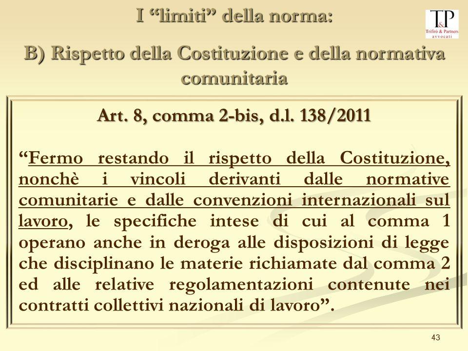 43 I limiti della norma: B) Rispetto della Costituzione e della normativa comunitaria Art.