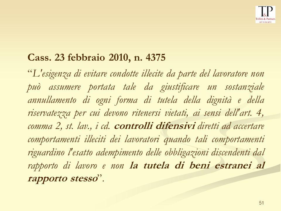 51 Cass.23 febbraio 2010, n.