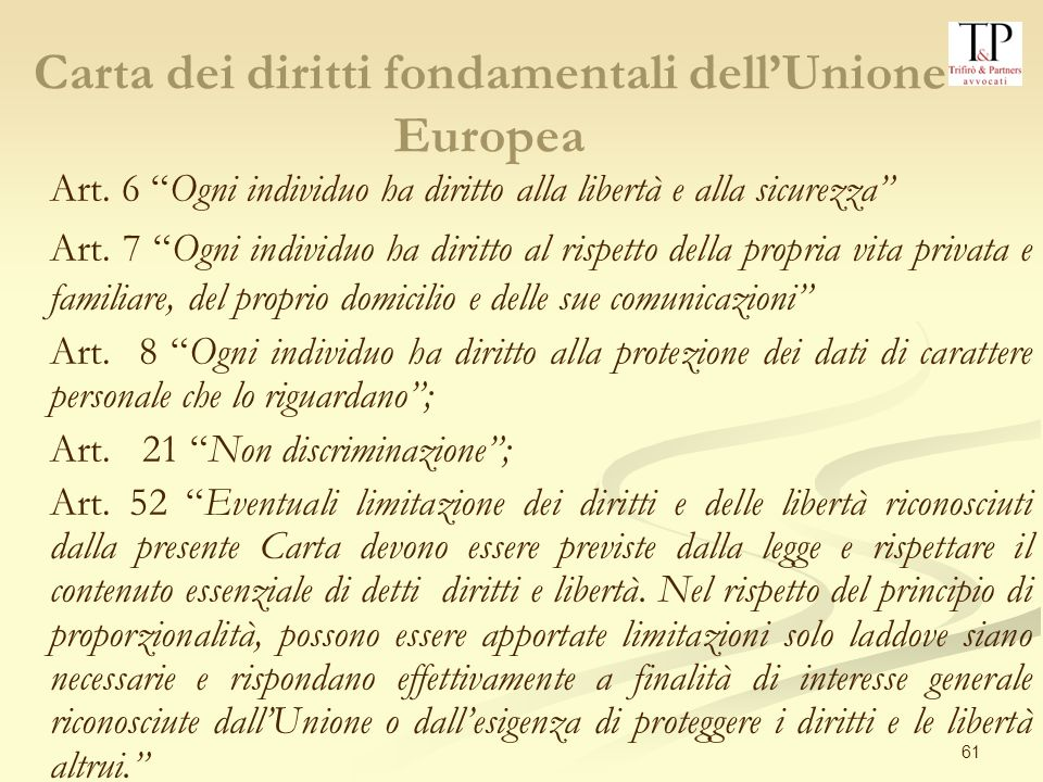 61 Carta dei diritti fondamentali dellUnione Europea Art.