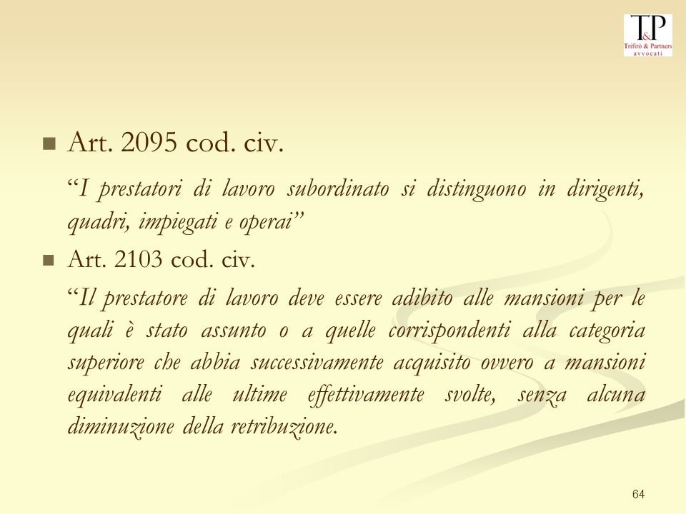 64 Art.2095 cod. civ.