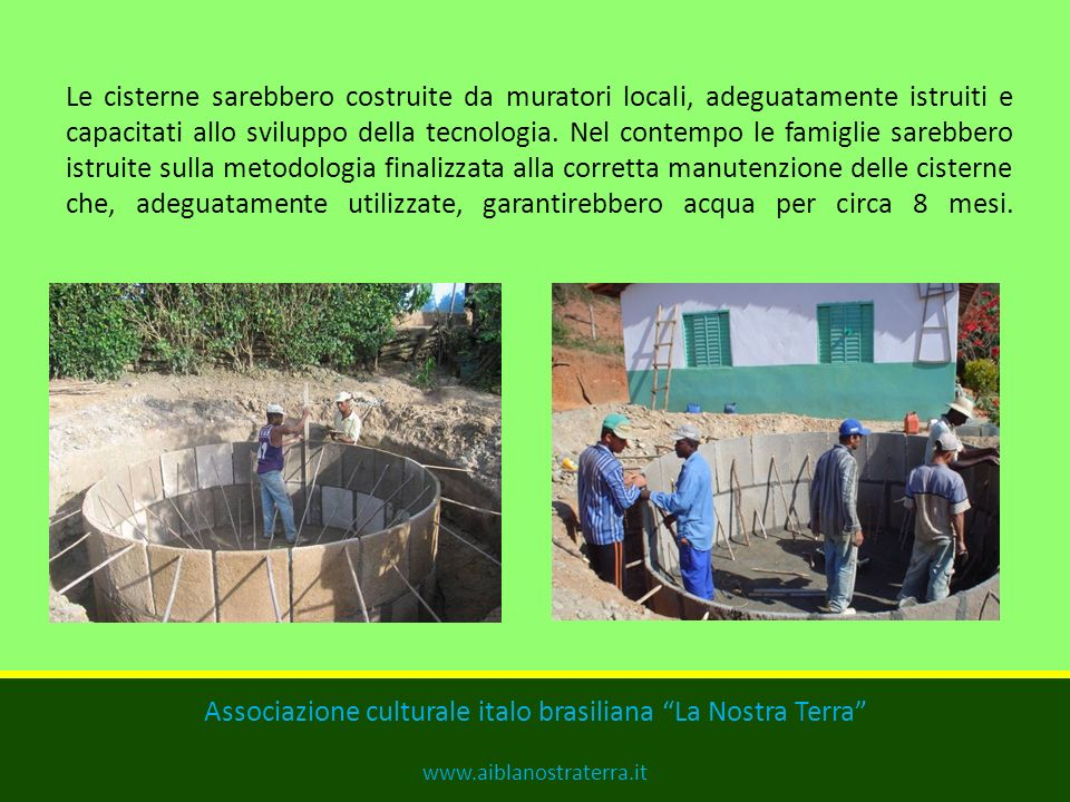 SERBATOI DACQUA PIOVANA La capacità delle cisterne, fra i 15.000 e i 20.000 litri, garantisce una riserva dacqua sufficiente a una famiglia durante tu