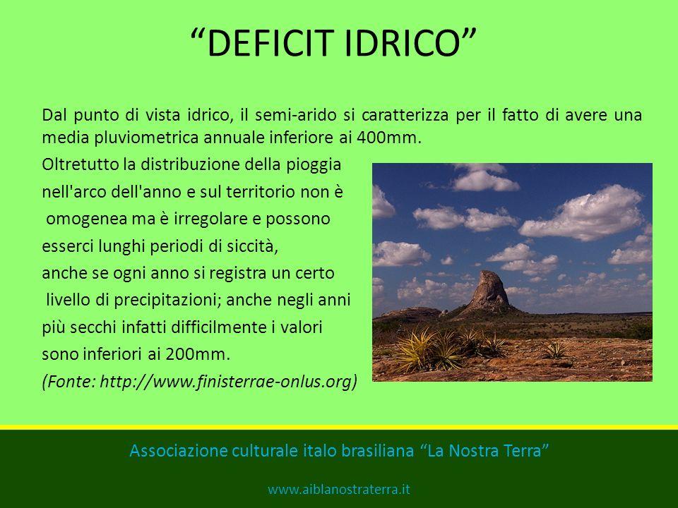 DEFICIT IDRICO Dal punto di vista idrico, il semi-arido si caratterizza per il fatto di avere una media pluviometrica annuale inferiore ai 400mm.