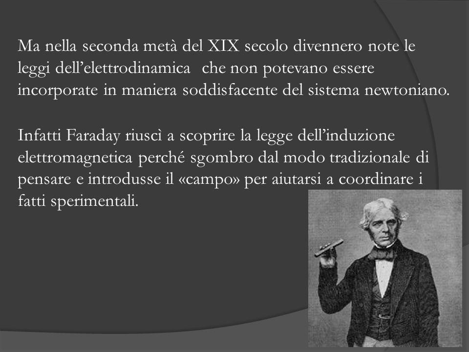 Ma nella seconda metà del XIX secolo divennero note le leggi dellelettrodinamica che non potevano essere incorporate in maniera soddisfacente del sistema newtoniano.