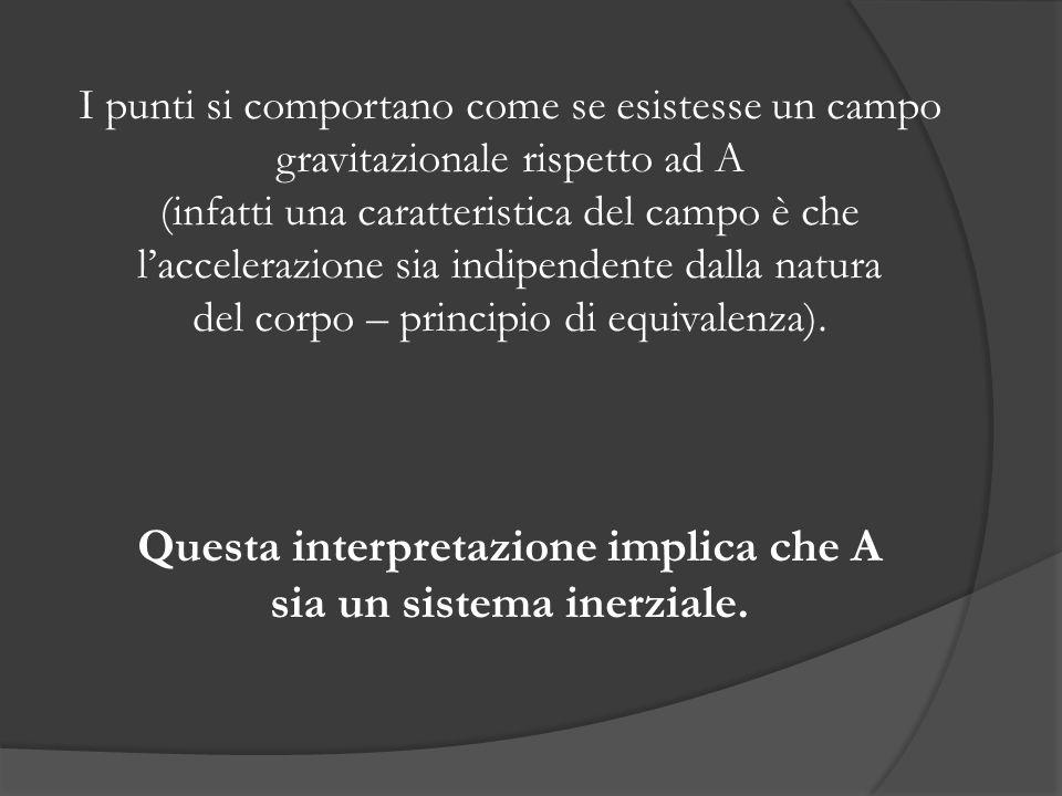 I punti si comportano come se esistesse un campo gravitazionale rispetto ad A (infatti una caratteristica del campo è che laccelerazione sia indipendente dalla natura del corpo – principio di equivalenza).