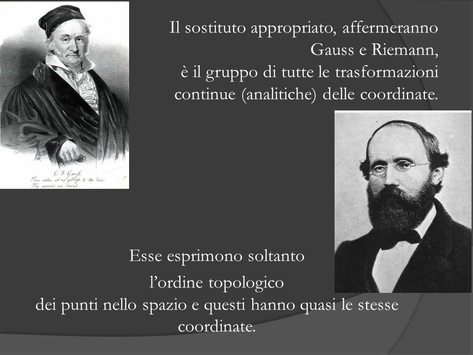 Il sostituto appropriato, affermeranno Gauss e Riemann, è il gruppo di tutte le trasformazioni continue (analitiche) delle coordinate. Esse esprimono