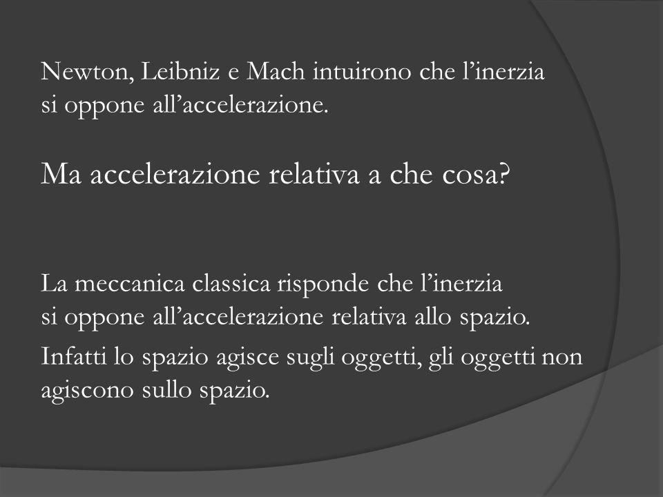Newton, Leibniz e Mach intuirono che linerzia si oppone allaccelerazione. Ma accelerazione relativa a che cosa? La meccanica classica risponde che lin