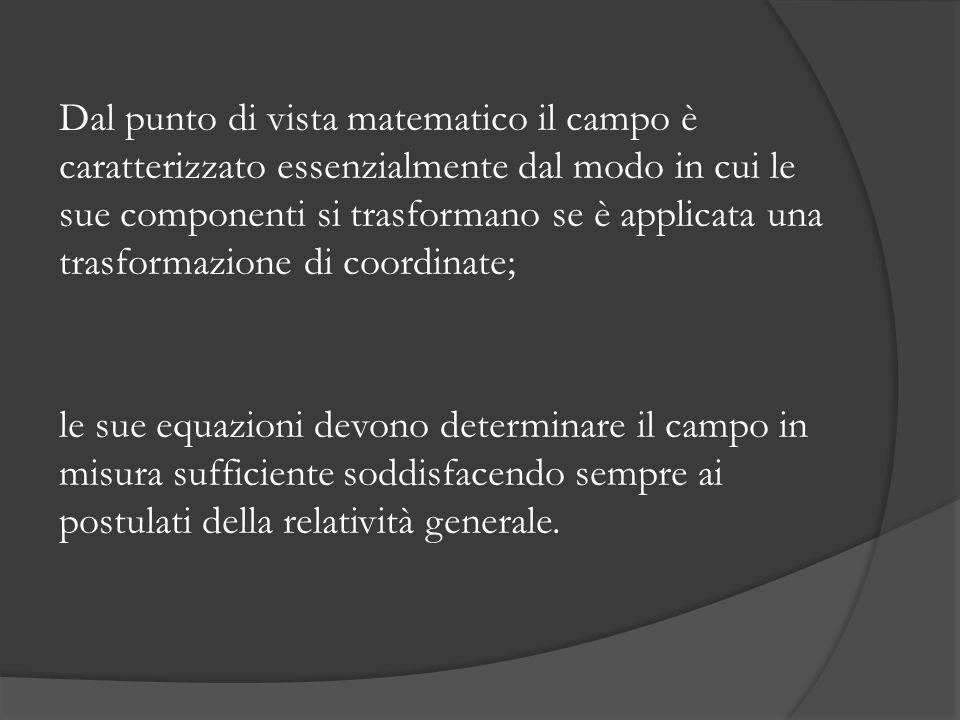 Dal punto di vista matematico il campo è caratterizzato essenzialmente dal modo in cui le sue componenti si trasformano se è applicata una trasformazione di coordinate; le sue equazioni devono determinare il campo in misura sufficiente soddisfacendo sempre ai postulati della relatività generale.