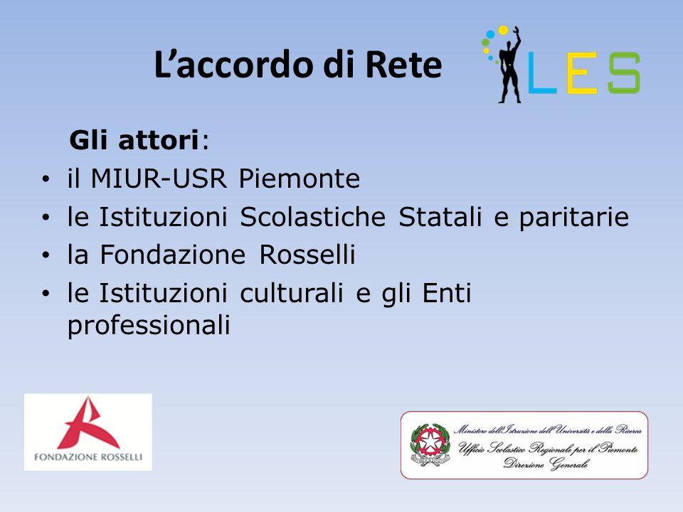 Laccordo di Rete Gli attori: il MIUR-USR Piemonte le Istituzioni Scolastiche Statali e paritarie la Fondazione Rosselli le Istituzioni culturali e gli Enti professionali