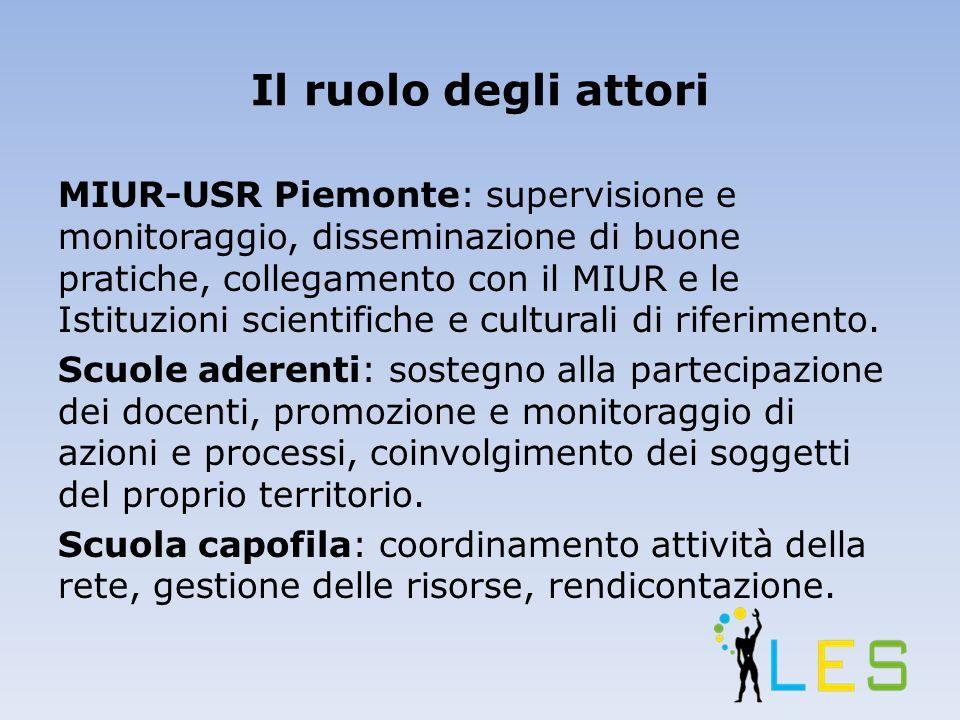 Il ruolo degli attori MIUR-USR Piemonte: supervisione e monitoraggio, disseminazione di buone pratiche, collegamento con il MIUR e le Istituzioni scientifiche e culturali di riferimento.