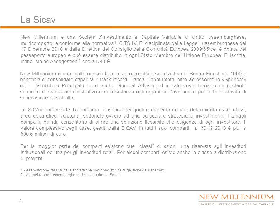 2. La Sicav New Millennium è una Società dInvestimento a Capitale Variabile di diritto lussemburghese, multicomparto, e conforme alla normativa UCITS
