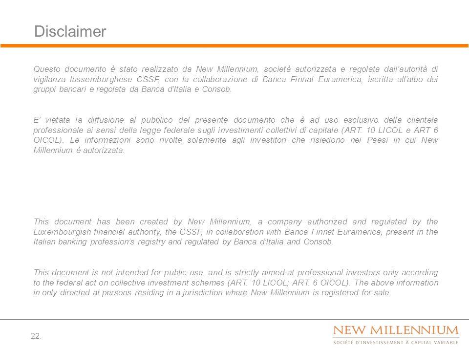Disclaimer 22. Questo documento è stato realizzato da New Millennium, società autorizzata e regolata dallautorità di vigilanza lussemburghese CSSF, co