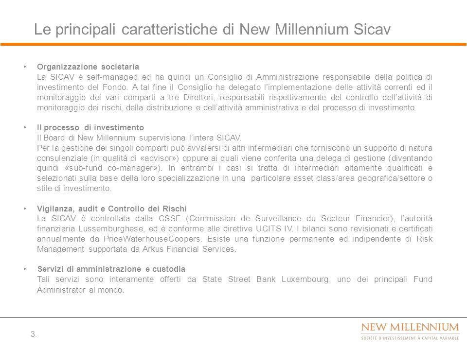 Le principali caratteristiche di New Millennium Sicav 3. Organizzazione societaria La SICAV è self-managed ed ha quindi un Consiglio di Amministrazion