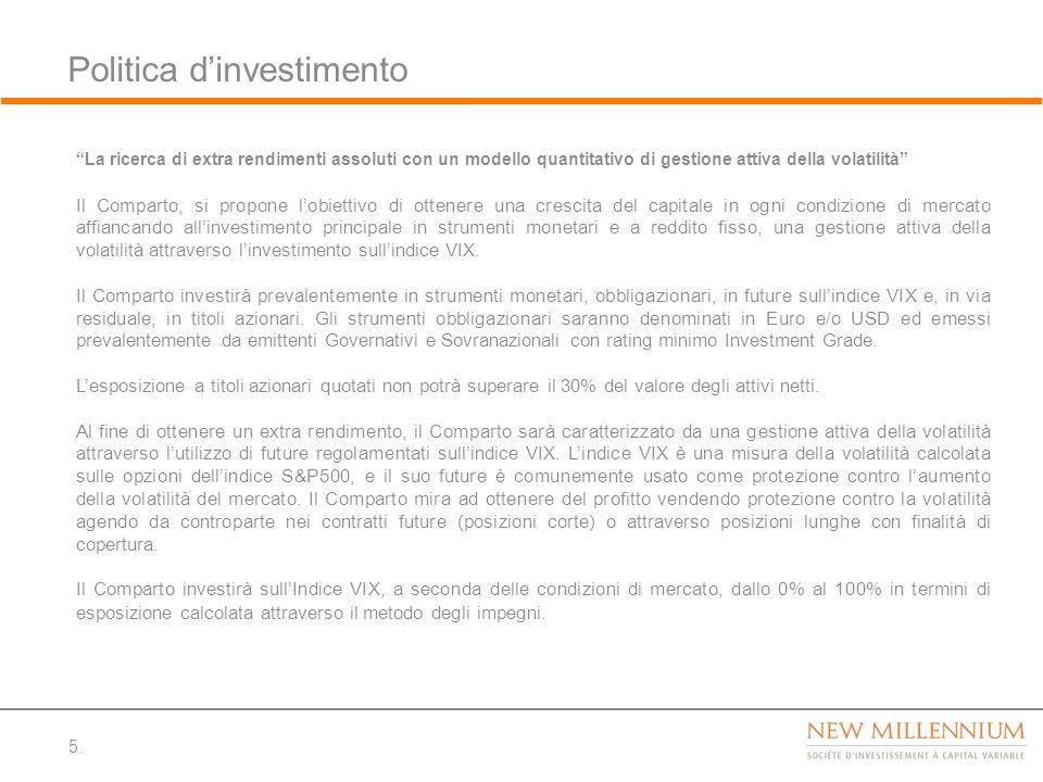 Politica dinvestimento 5. La ricerca di extra rendimenti assoluti con un modello quantitativo di gestione attiva della volatilità Il Comparto, si prop
