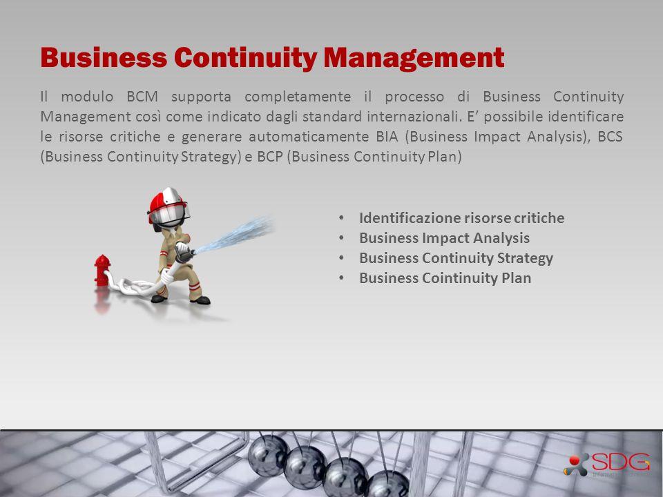 Business Continuity Management Il modulo BCM supporta completamente il processo di Business Continuity Management così come indicato dagli standard in