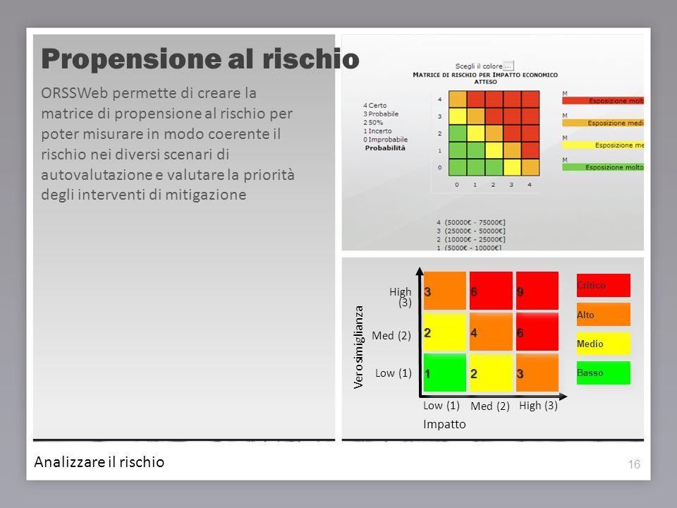 16 Propensione al rischio 16 ORSSWeb permette di creare la matrice di propensione al rischio per poter misurare in modo coerente il rischio nei divers
