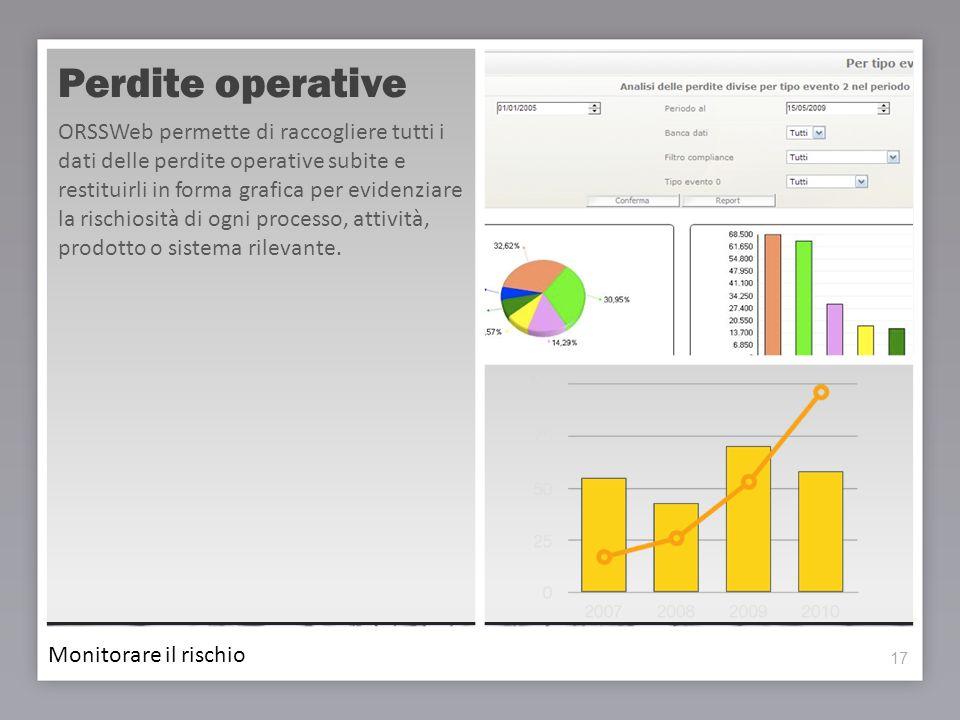 17 Perdite operative ORSSWeb permette di raccogliere tutti i dati delle perdite operative subite e restituirli in forma grafica per evidenziare la ris