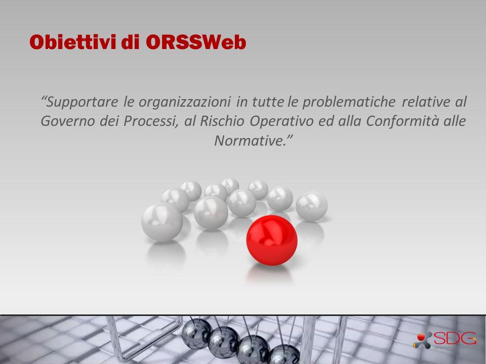 Obiettivi di ORSSWeb Supportare le organizzazioni in tutte le problematiche relative al Governo dei Processi, al Rischio Operativo ed alla Conformità