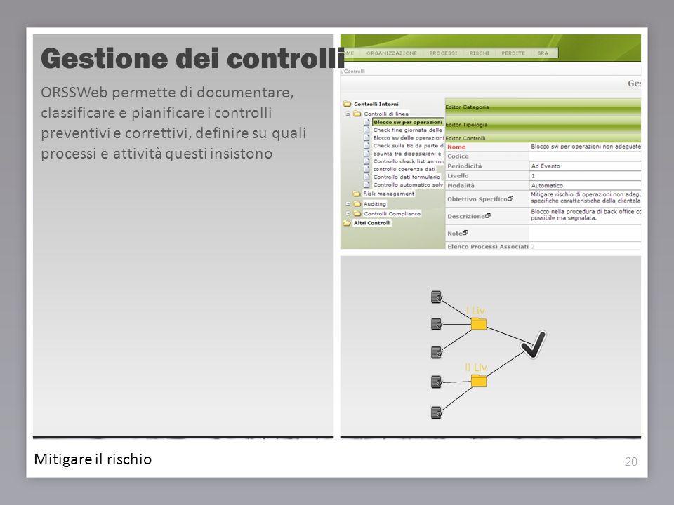 20 Gestione dei controlli 20 ORSSWeb permette di documentare, classificare e pianificare i controlli preventivi e correttivi, definire su quali proces